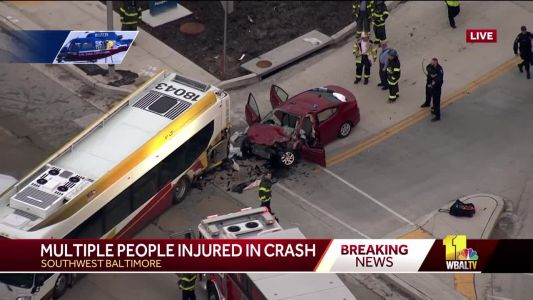 Two people dead following crash involving MTA bus in southwest Baltimore