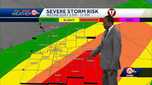 Strong to severe storms likely Wednesday, mainly southeast of KC