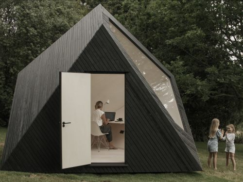 This $33,000 tiny cabin that looks like a sculpture and can be used as a backyard office - see inside