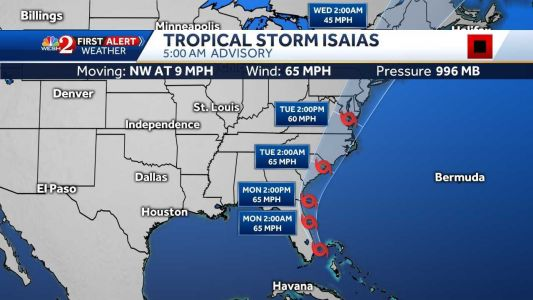 Storm Isaias churns close to Florida's east coast