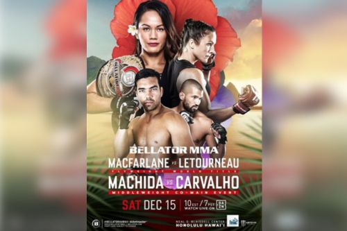 Check out the official poster for Bellator 213 in Hawaii, featuring champ Ilima-Lei Macfarlane