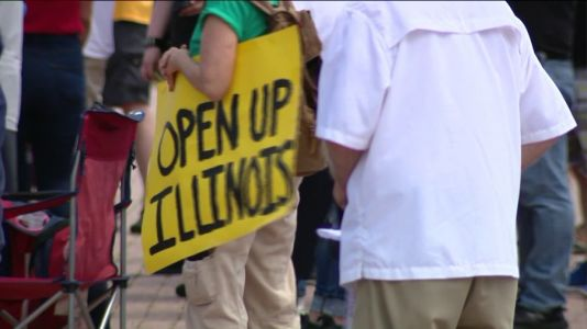 Group rallies in Grant Park to demand that Illinois reopens