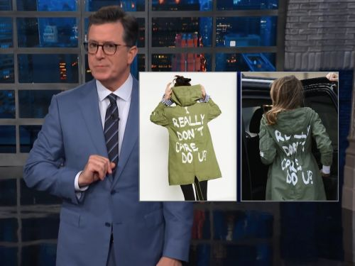 Stephen Colbert mocks Melania Trump's decision to wear the 'I don't really care, do u?' jacket
