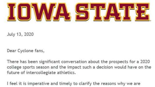 Letter to Iowa State fans details possible financial hardships for program