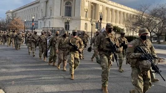 Members of Massachusetts National Guard returning from DC today