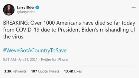 Conservatives 'mourn' Americans who've died of Covid during Biden's presidency so far, mimicking Dems who blamed deaths on Trump