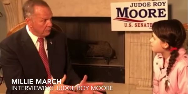 Right-wing group sends 12-year-old girl to interview Roy Moore