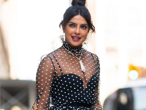 Priyanka Chopra put a playful spin on the sheer-fashion trend in a $1,370 polka-dot top and skirt