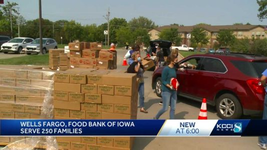 Food Bank of Iowa, Wells Fargo serve 250 families at mobile food drive