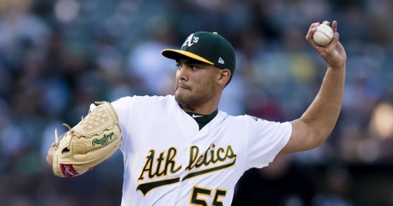 A's lefty Manaea pitching no-hitter thru 8 vs Red Sox