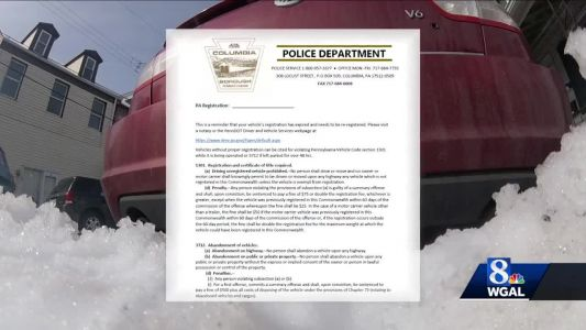 Officer hands out warnings for expired vehicle registrations