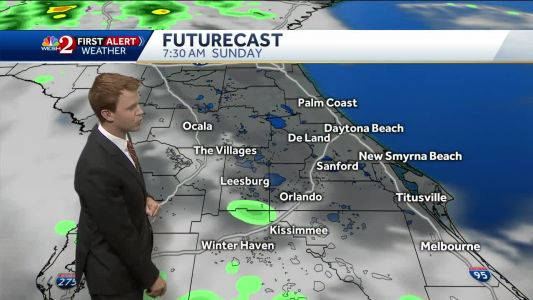 Spotty showers and a few storms Sunday