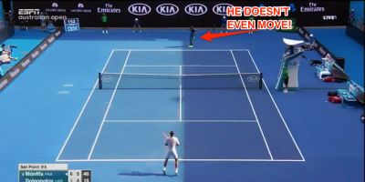 Sixth-ranked Gael Monfils hit the most casual behind-the-back shot to win a point at the Australian Open