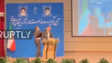 WATCH: Man SLAPS provincial governor during inauguration in Iran