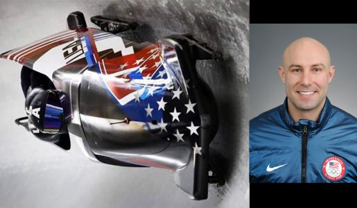 US Olympian Nick Cunningham competes in 4-man bobsled