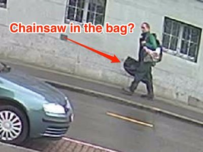 A chainsaw-wielding criminal who injured 5 in Switzerland is still on the run - and police think this is him carrying his weapon