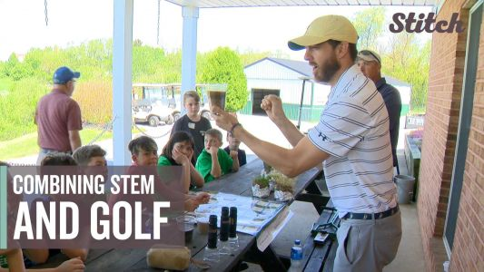 Fifth graders step out of classroom and onto the golf course to learn STEM