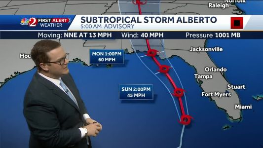 Waves of rain as Alberto moves in