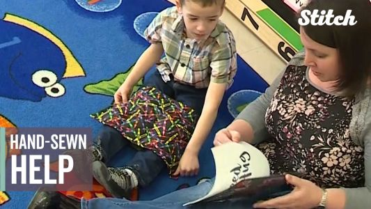 Hand-sewn help: Businesswoman helping students focus
