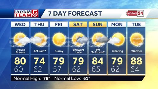 Video: Sunny weather with possible weekend showers