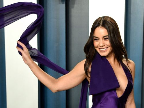 Vanessa Hudgens turned her dress into moving art at the Oscars after-party