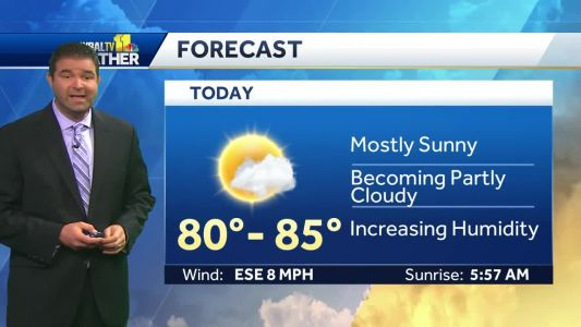 Mostly sunny Friday, with temps in 80s