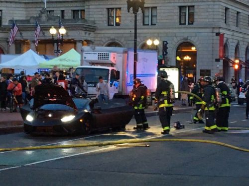 Supercar bursts into flames in Copley Square