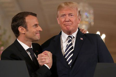 President Trump Brushes 'Dandruff' Off French President Macron's Suit as the Two Leaders Tussle Over Iran