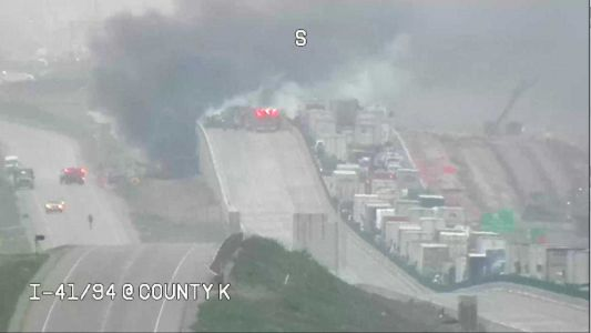 Crash, fire closes all lanes of I-41/94 in Racine County