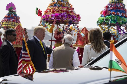 India pours on the pageantry with colorful welcome for President Trump