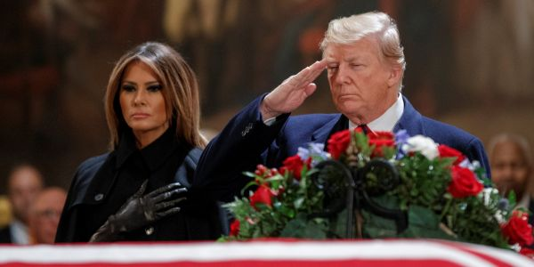 Trump quickly left George H.W. Bush's funeral and was back at the White House before the casket left the cathedral