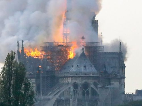 Paris firefighters battle huge blaze at the city's Notre Dame cathedral
