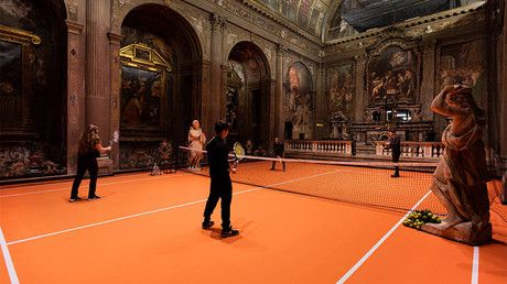 'Everyone should do this'? Visitors play tennis in 16c Italian church as part of art project