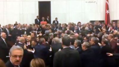 Mass brawl erupts in Turkish parliament after MP protest