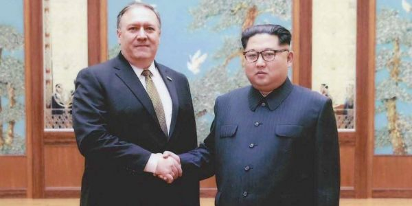 The first photos have been released from Mike Pompeo's meeting with Kim Jong Un