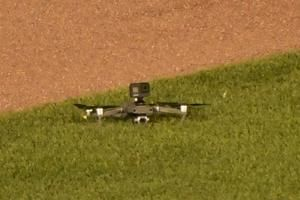 A drone flies over Wrigley Field, causing a 7-minute delay in the Cubs-Indians game