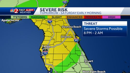 Severe weather threat pushes into Central Florida Friday