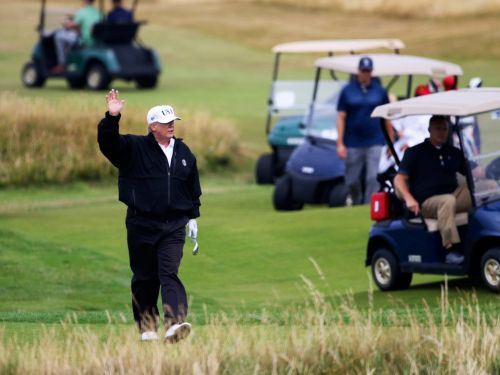 Trump, guarded by snipers, golfs at his course in Scotland before his big meeting with Putin