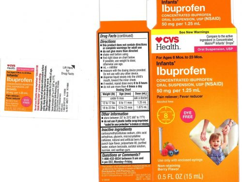 Infant ibuprofen sold under CVS, Walmart, and Family Dollar brands is being recalled