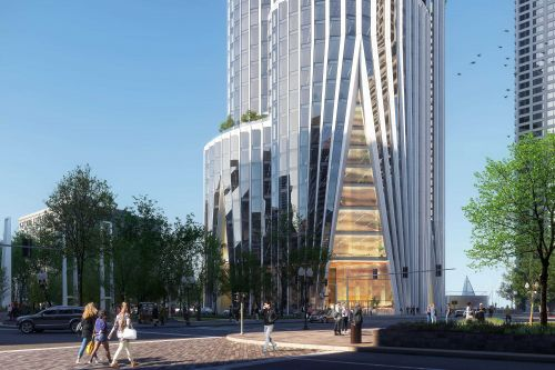 Hundreds rally against planned 600-foot tower on Boston waterfront