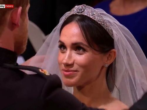 A picture of Meghan Markle looking at Prince Harry during their wedding has turned into a meme about love