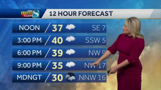 Wintry mix moves out, flurries arrive Tuesday