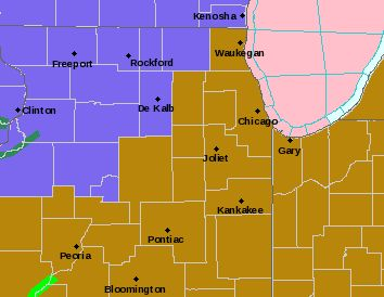 A brief period of freezing rain across far western and northern-most counties of northeast Illinois early Saturday, followed by strong winds gusting to 50 mph later Saturday night and Sunday