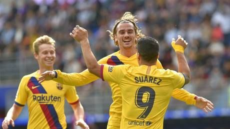 Watch the goals as Griezmann, Messi & Suarez all get on scoresheet for Barcelona for first time