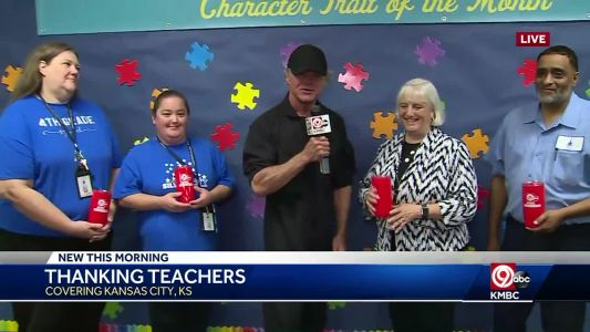Johnny Rowlands thanks teachers at KCK elementary school