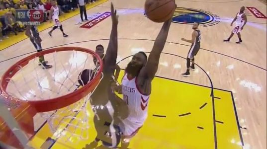 James Harden unleashed a vicious dunk on Draymond Green