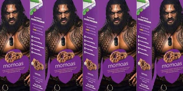 Girl Scout puts Jason Momoa on box of Samoas and unsurprisingly sales skyrocketed