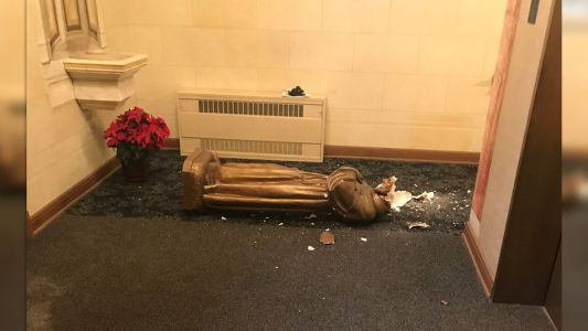 'Our grand Basilica was desecrated,' priest says in tweet showing destroyed statue
