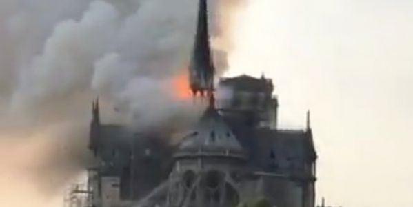 The Notre Dame Cathedral in Paris is on fire