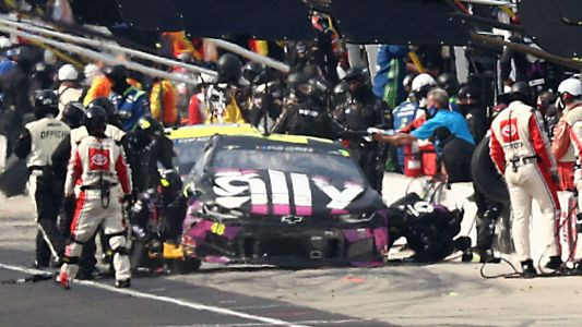 NASCAR at Indianapolis: Ryan Blaney crew member injured in pit road pileup